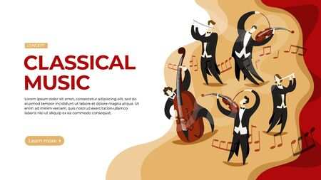Musicians play classical music on stage. Vector illustration of classical music concert concept. Landing page main block layout.