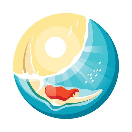 Red-haired girl dives into the water. Vector illustration of summer vacation concept.