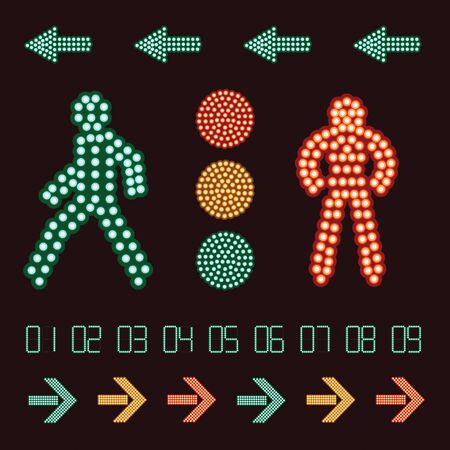 Vector set of traffic light symbols with digits, arrows and man silhouettes. EPS 10 file.