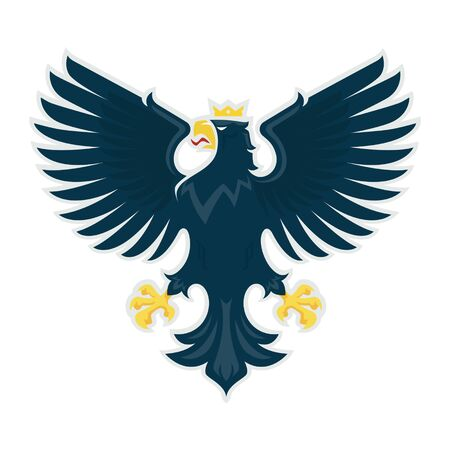 Heraldic eagle. Vector illustration of a proud eagle with spread wings.   file. Ilustração