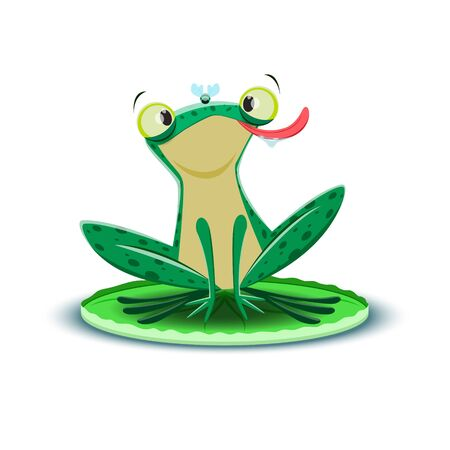 A cute frogling catches a fly. Vector illustration.