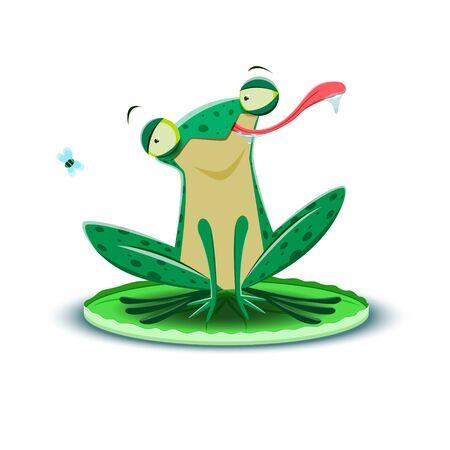 A frog catches a fly. Vector illustration. Ilustração