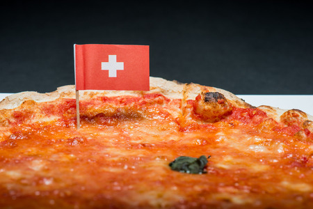 margherita: Margherita pizza with Swiss flag
