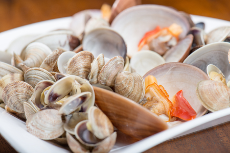 cockles: Fresh seafood, clams and cockles prepared in the dish Stock Photo