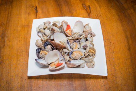 prepared dish: Fresh seafood prepared in the dish Stock Photo