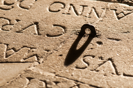 eyelet: written on the church rock with eyelet in shadow