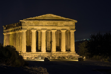 agrigento: Temples in Agrigento night in Sicily - Italy Stock Photo