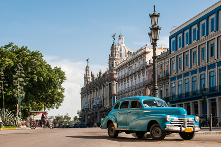 havana cuba: Old car in the square - Havana, Cuba.