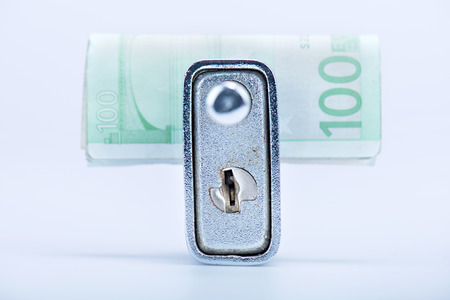 deadbolt: deadbolt with European banknotes inside, still life Stock Photo