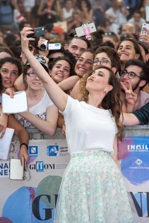 sa: Giffoni Valle Piana, SA, ITALY - July 21, 2016: Actress Chiara Francini on blue carpet at Giffoni Film Festival 2016 - on July 21, 2016 in Giffoni Valle Piana, Italy.