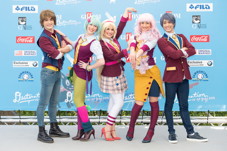 actors: Giffoni Valle Piana, SA, ITALY - July 21, 2016: Actors of animated series Regal Academy at Giffoni Film Festival 2016 - on July 21, 2016 in Giffoni Valle Piana, Italy. Editorial