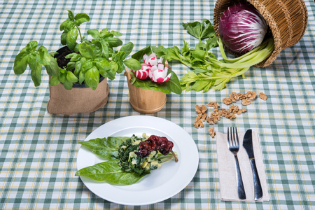 Leaves and potatoes (chard and potatoes), on italian table
