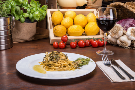 Spaghetti to asparagus Carbonara, typical italian dish. In a large bowl, together the eggs and cheese.