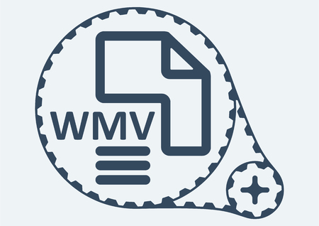 wmv: Flat Vector illustration. WMV file extension. WMV Icon Graphic. WMV  symbol. WMV  Icon Art. WMV Icon illustration. WMV  Icon Vector.