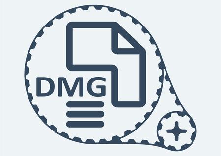 file extension: Flat Vector illustration. DMG file extension. DMG Icon Graphic. DMG  symbol. DMG  Icon Art. DMG Icon illustration. DMG  Icon Vector. Illustration
