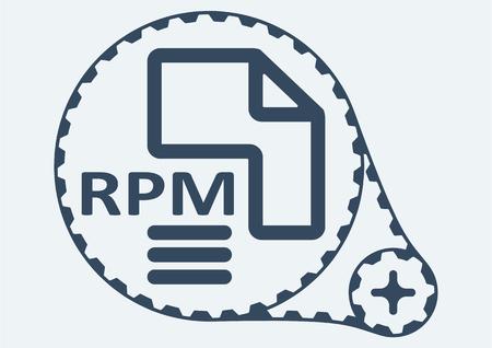 rpm: Flat Vector illustration. RPM file extension. RPM Icon Graphic. RPM  symbol. RPM  Icon Art. RPM Icon illustration. RPM  Icon Vector.