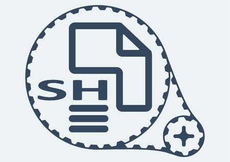 sh: Flat Vector illustration.  SH file extension.  SH Icon Graphic.  SH  symbol.  SH  Icon Art.  SH Icon illustration.  SH  Icon Vector. Illustration