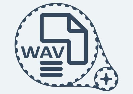 wav: Flat Vector illustration. WAV file extension. WAV Icon Graphic. WAV  symbol. WAV  Icon Art. WAV Icon illustration. WAV  Icon Vector.