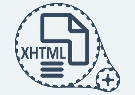xhtml: Flat Vector illustration. XHTML file extension. XHTML Icon Graphic. XHTML  symbol. XHTML  Icon Art. XHTML Icon illustration. XHTML  Icon Vector.