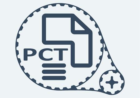 Flat Vector illustration. PCT file extension. PCT Icon Graphic. PCT  symbol. PCT  Icon Art. PCT Icon illustration. PCT  Icon Vector.
