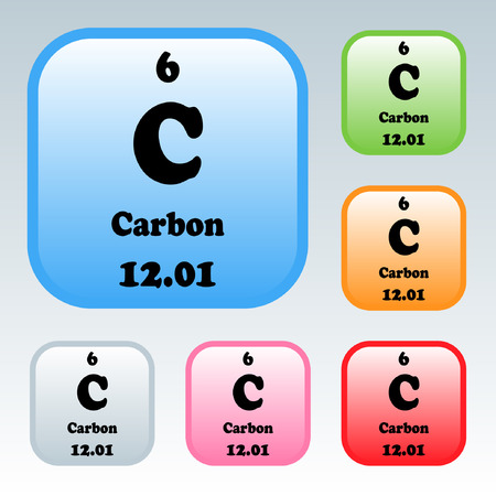 Carbon Symbolemical Element Of The Periodic Table On A Glossy