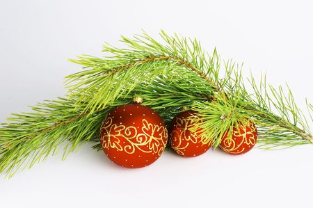 red balls with pine branch isolated