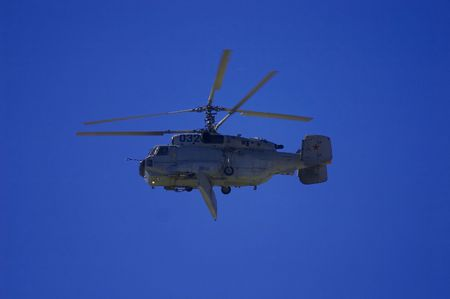 pilotage: military helicopter flying in the sky on MAKS 2005