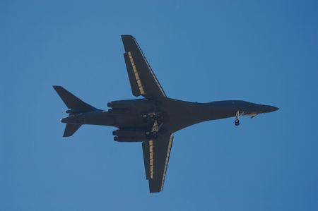 pilotage: USA bomber B1B in the sky on MAKS 2005 Stock Photo