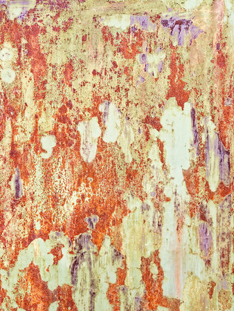Rusty grunge background. Rough red and yellow metallic texture.