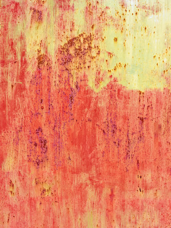 Rusty grunge background. Red and yellow metallic texture.