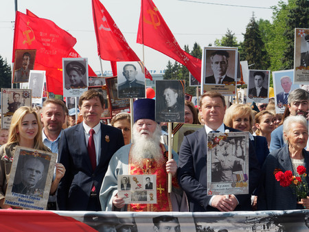 ZHUKOVSKY, RUSSIA - May 09, 2019. The immortal regiment. The celebration of May 9, the day of victory in the Great Patriotic War. Redakční