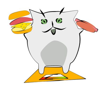 Cat on a diet. Harmful food and obesity. A cat on the scales, in the hands of a hot dog and a hamburger. Stock Photo