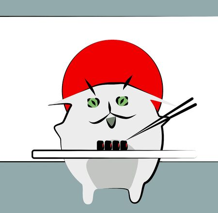 Cat eats sushi. Illustration in Japanese style. Funny animals and cats.