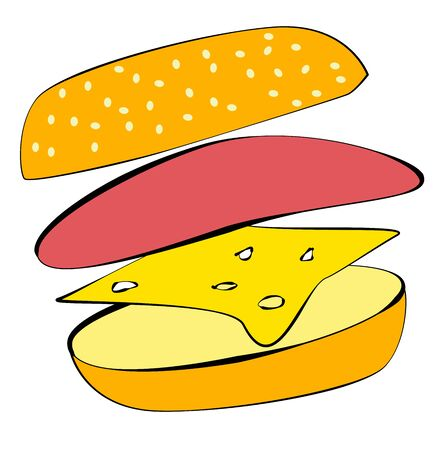Hamburger on a white background. Ingredients layered in the air. Simple illustration. Stock Photo