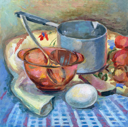 Oil painting. Rustic still life. Dishes on the table.