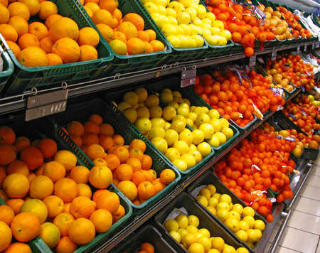 Fresh fruits in a hypermarket Stock Photo - 4445084