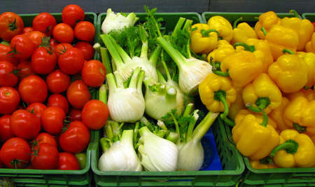 Baskets with fresh vegetables photo