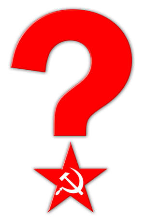 questionably: Red star and question mark Stock Photo