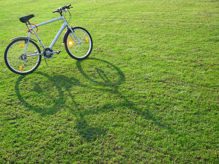 Modern bicycle on green grass 2 photo