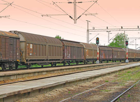 goods train: Freight train with big cargo wagons