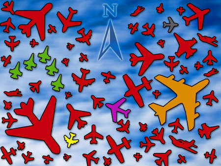 Many airplanes in a crowded sky Stock Photo - 8391967