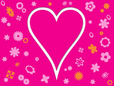 Pink heart with background full of flowers photo