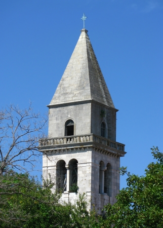 Church bell tower in village Osor on island Cres, Croatia Stock Photo - 17861422