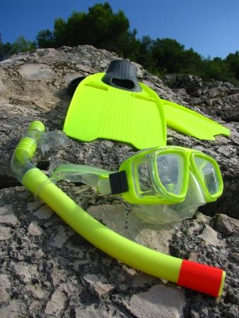 snorkle: Snorkling mask and fins