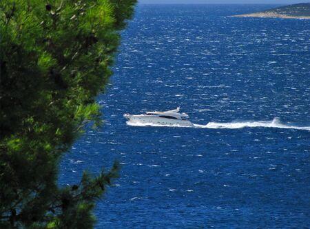 Luxury yacht near Cres island and Istra, Croatia