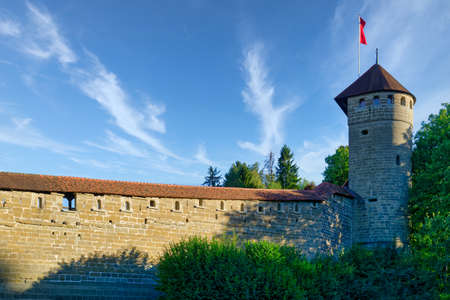 Fribourg (Freiburg), Switzerland - September 3, 2019: The fortifications of the city of Fribourg (Freiburg) built in the Middle Ages. 에디토리얼