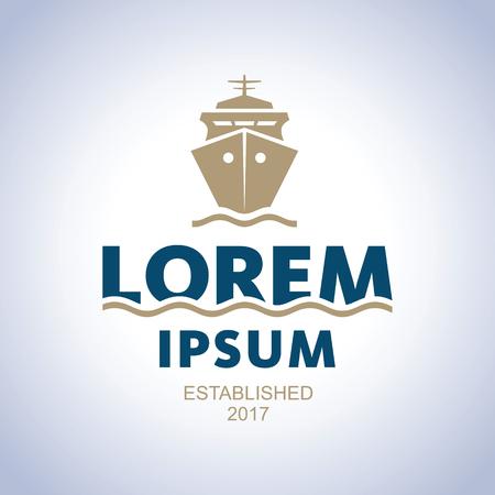 Sea logo. Ship emblem Illustration