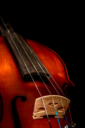 photo of a violin close-up on a black background Stock Photo