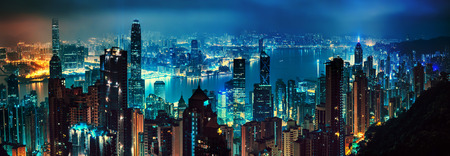 city in the night: panorama of evening hong kong Stock Photo