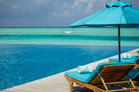 luxury lifestyle: Chaise lounge in Maldivian resort